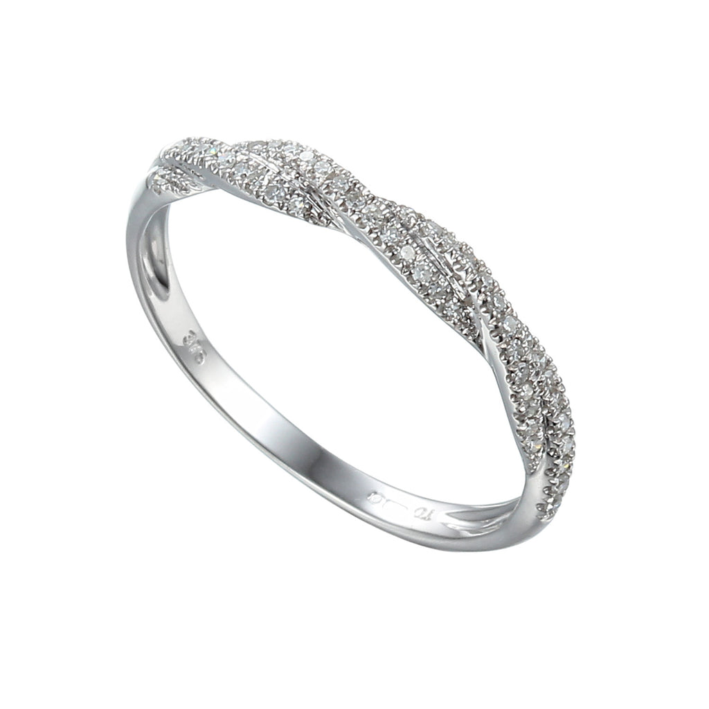 Diamond Set Eternity or Wedding Ring, with twist detailing.