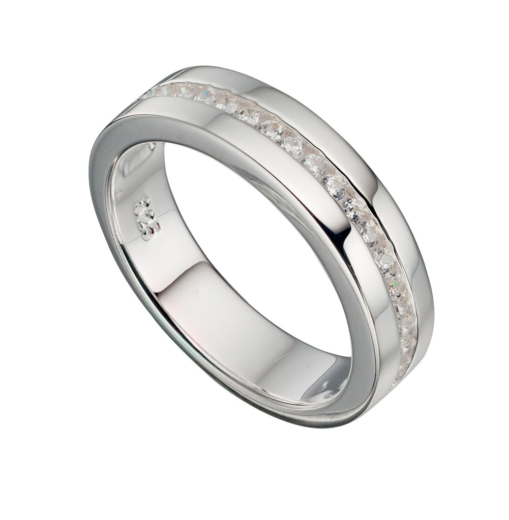 Cubic Zirconia Flat Silver Wedding Band - Hallmark Goldsmiths