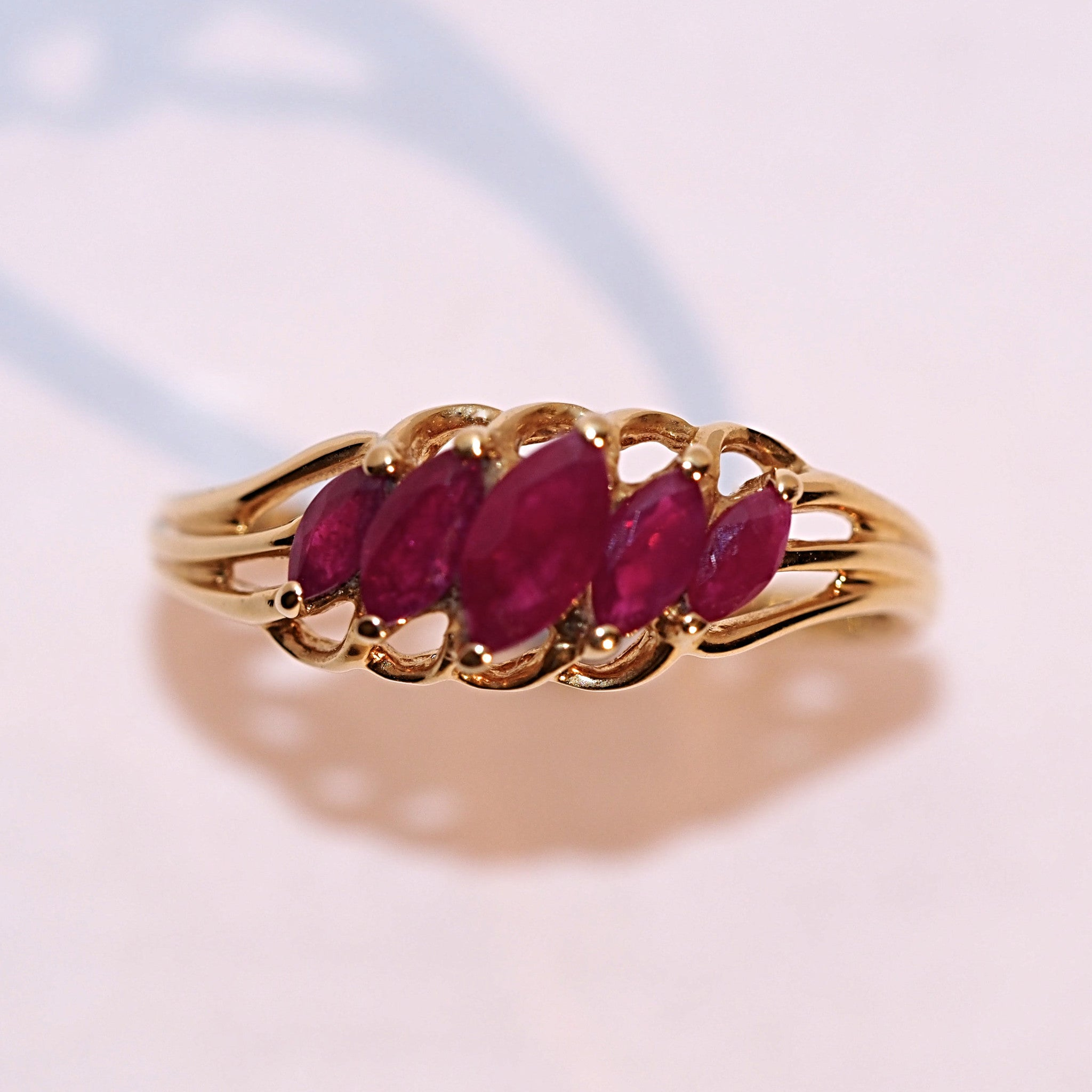Vintage Graduated Marquise Ruby Ring - Hallmark Goldsmiths - 2