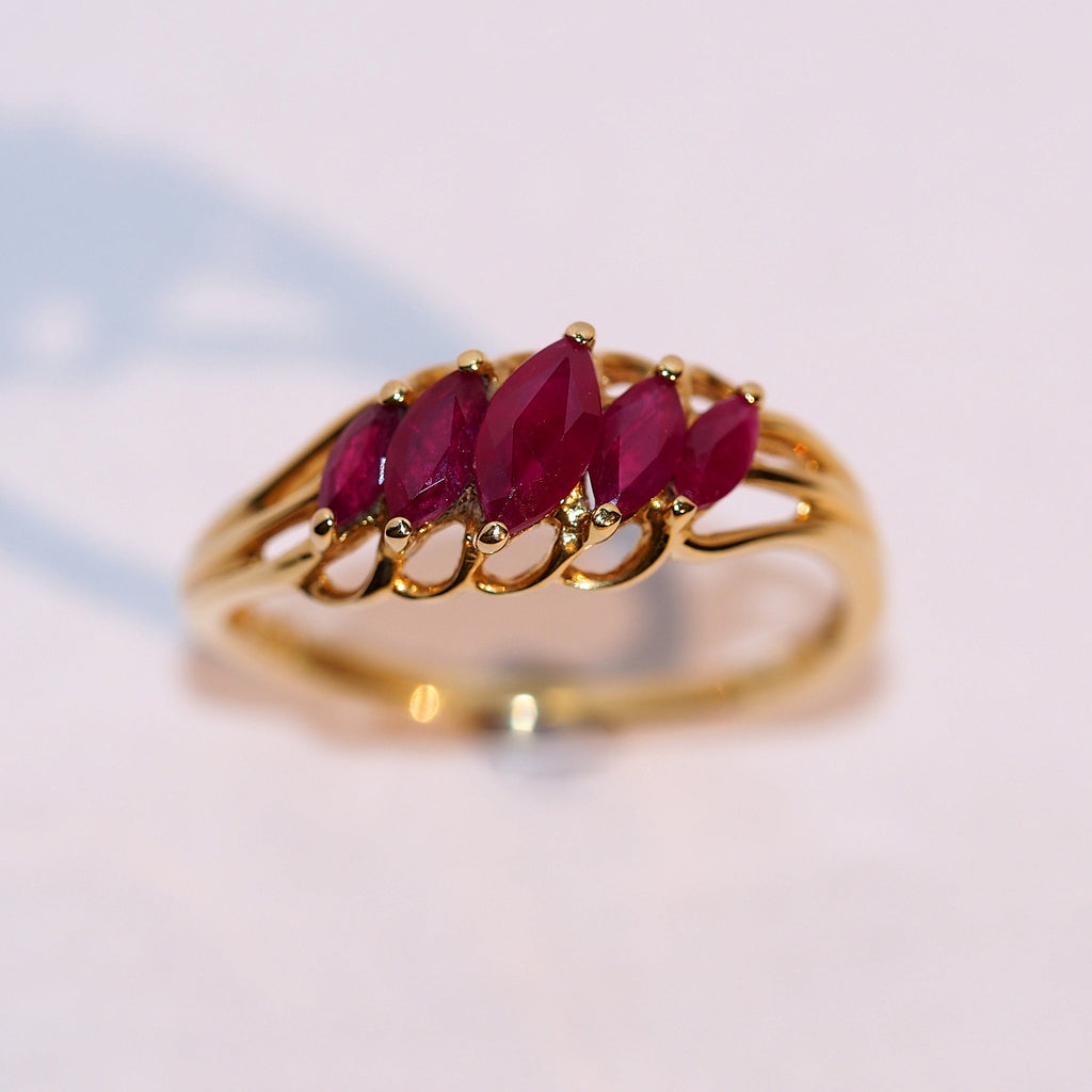 Vintage Graduated Marquise Ruby Ring - Hallmark Goldsmiths - 1