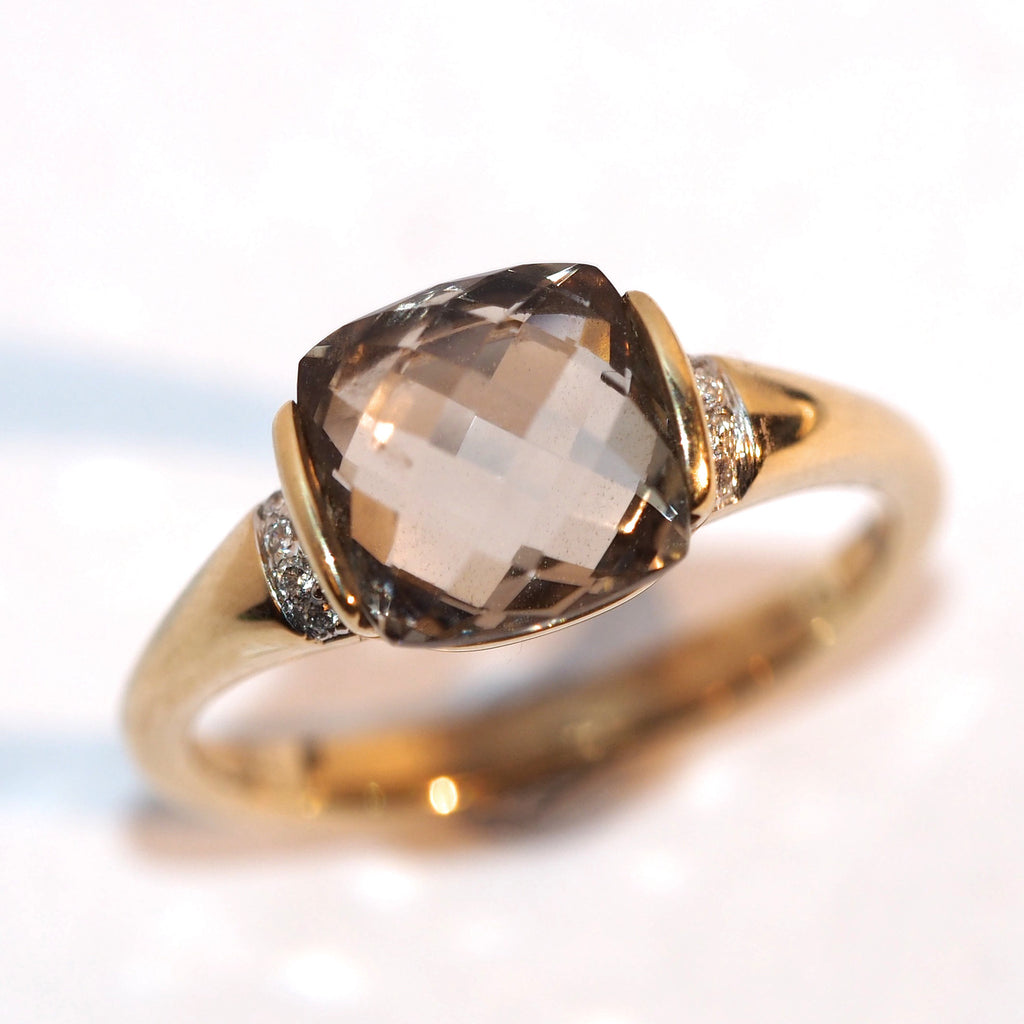 Smokey Quartz and Diamond Ring - Hallmark Goldsmiths
