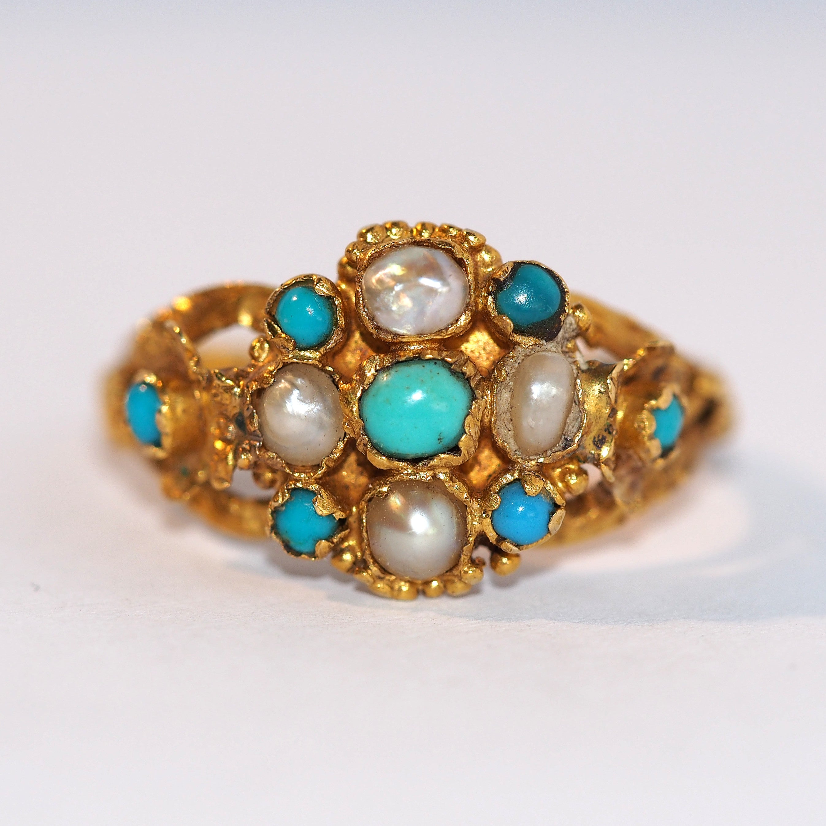 Turquoise and Pearl Antique Ring