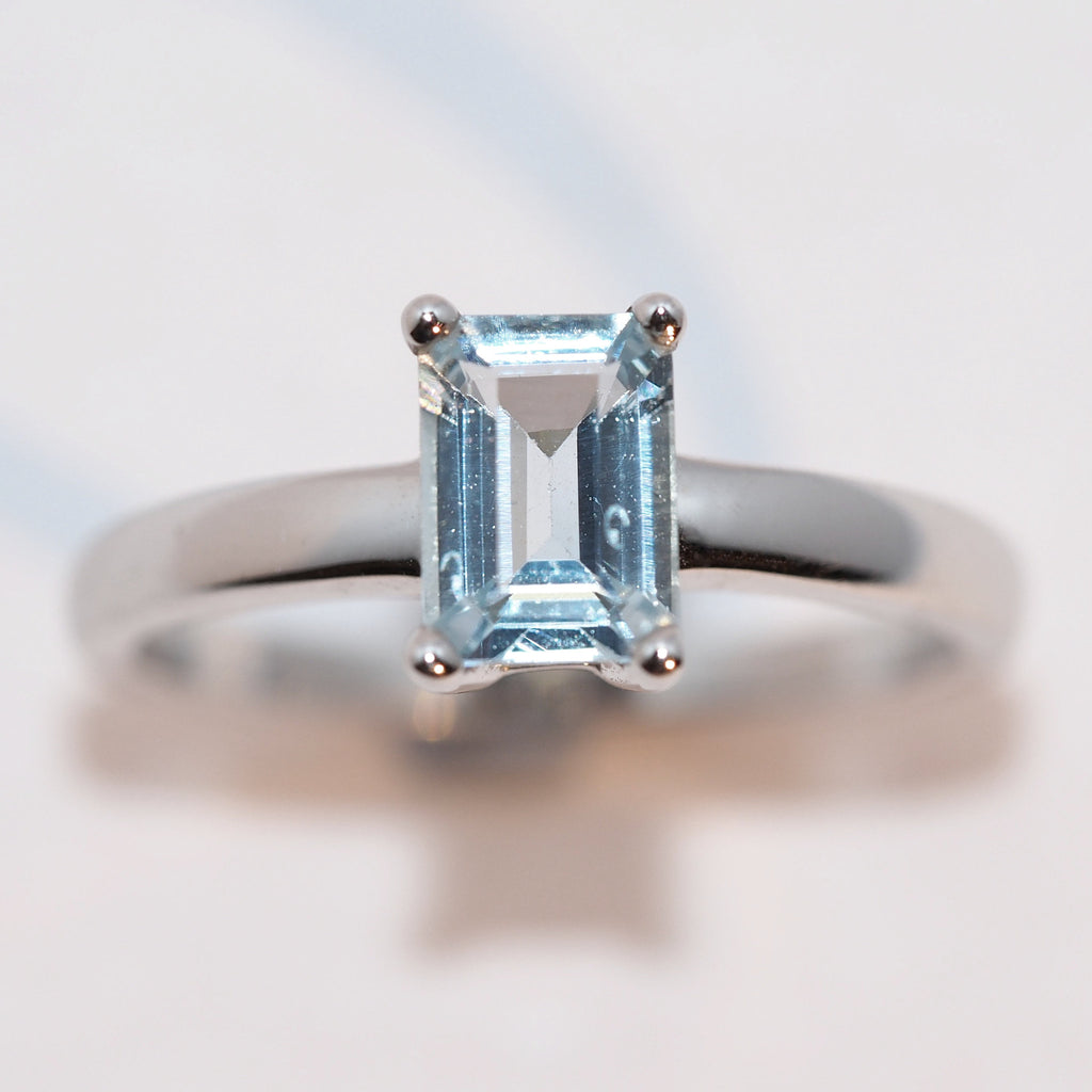 Aquamarine Emerald Cut Ring - Hallmark Goldsmiths