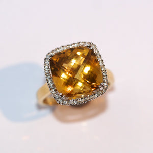 Large Citrine and Diamond Cluster - Hallmark Goldsmiths - 1