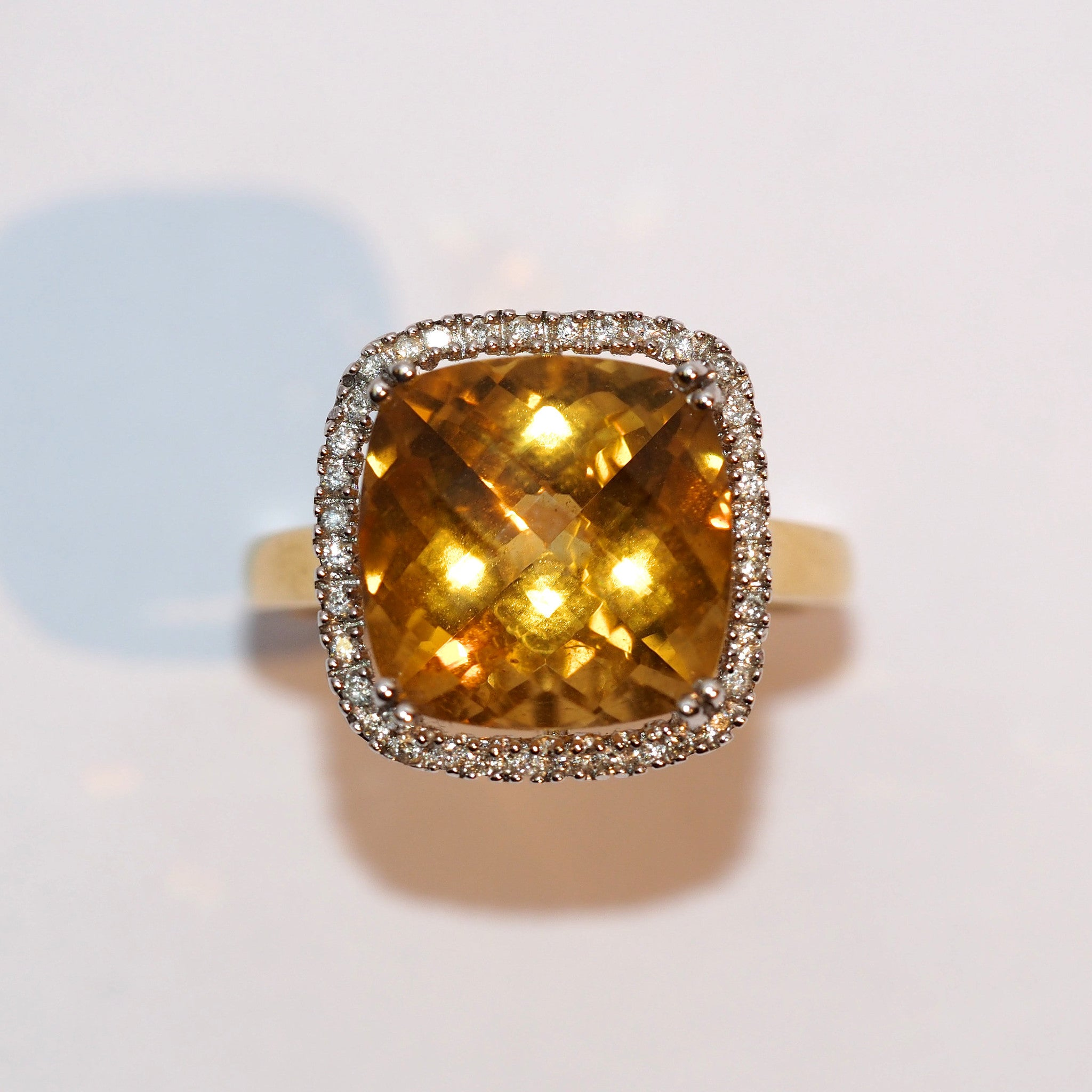 Large Citrine and Diamond Cluster - Hallmark Goldsmiths - 2
