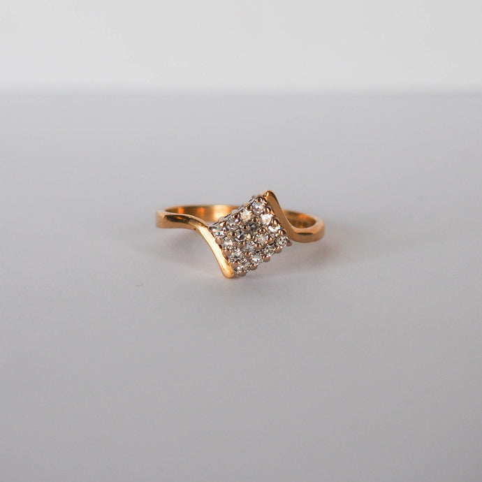 Vintage Square Cluster Diamond Ring - Hallmark Goldsmiths - 1