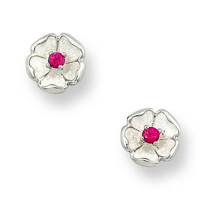 White Enamel and Ruby Flower Studs