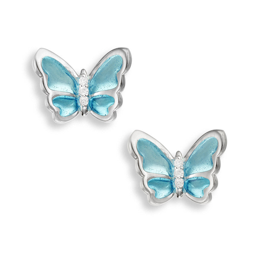 Butterfly Blue Hand Enamel Earrings