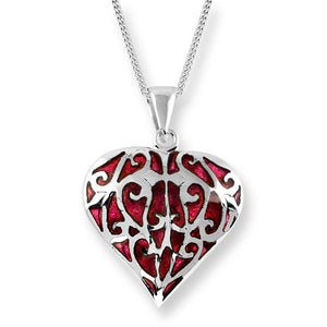 Heart Red Hand Enamel Pendant