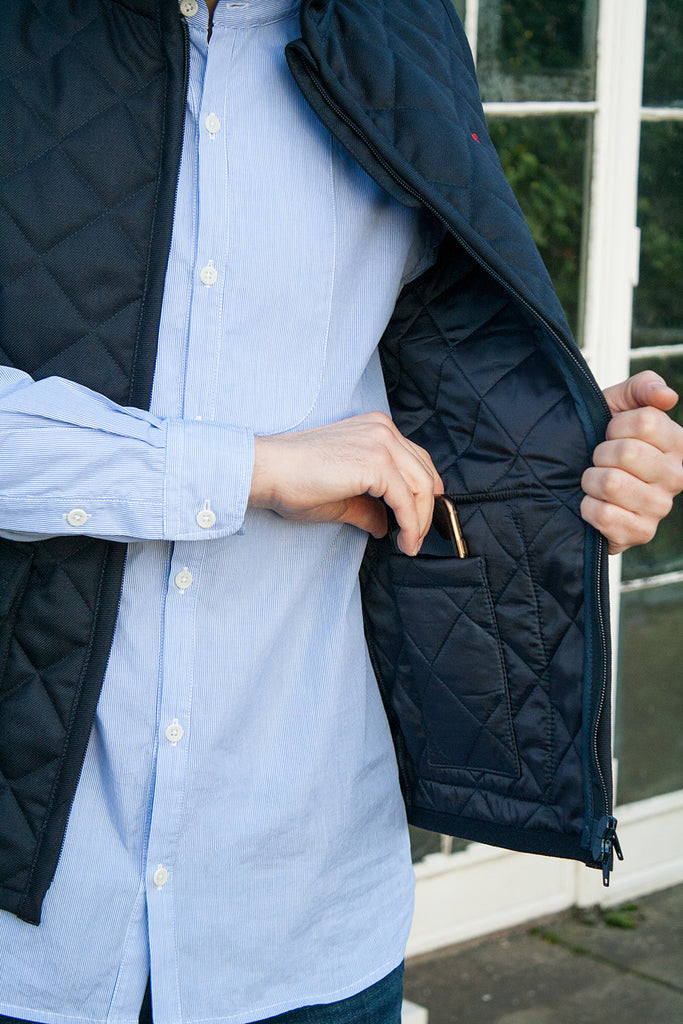 Limited Edition Mens waterproof Gilet. Made in Great Britain, wool / polyester twill. Image 3