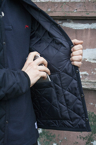 Limited Edition Mens waterproof coat. Made in Great Britain, wool / polyester twill. Image 6