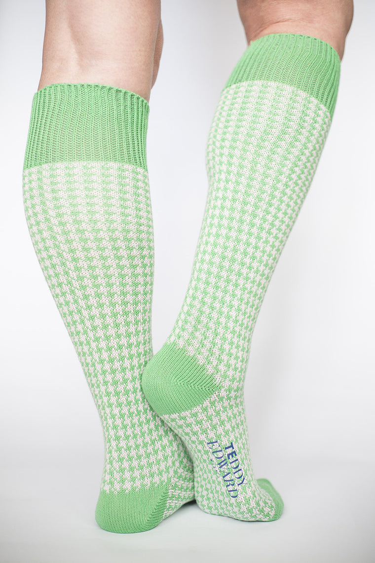 Long houndstooth cotton sock. Made in Great Britain.