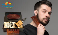 Premium Men Beard Kit with Quality Brush, Comb, 100% Natural Organic Beard Oil 2oz, and Deluxe Cotton Bag in Gift Box.