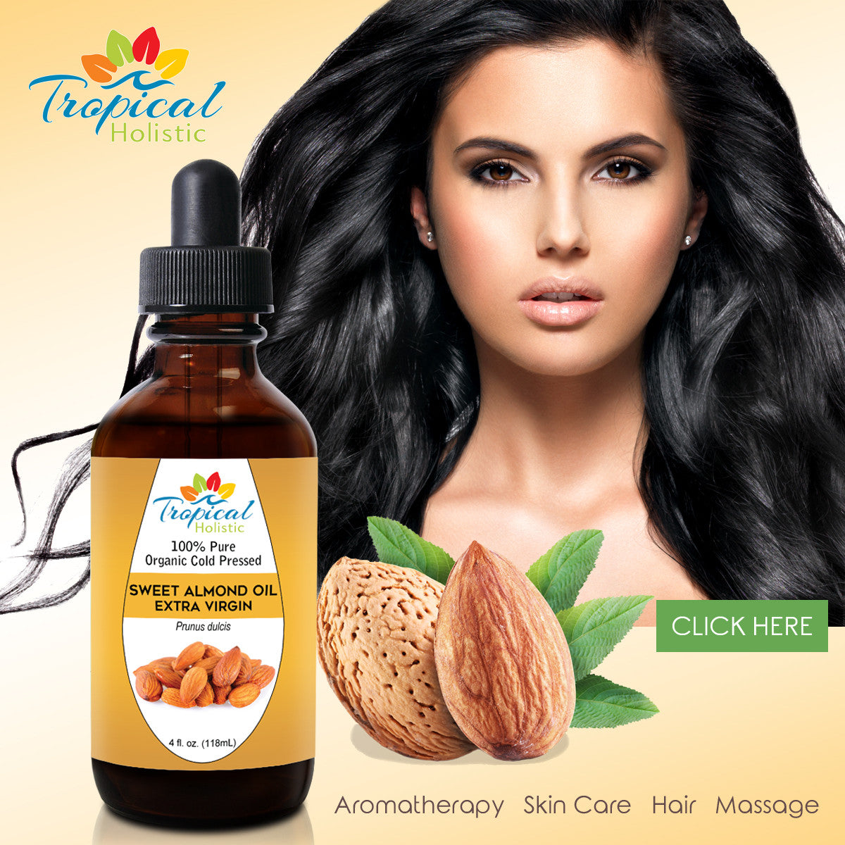 Organic Sweet Almond Oil 4 oz, Hexane Free for Skin and Hair