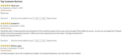 Amazon customer reviews for frankincense