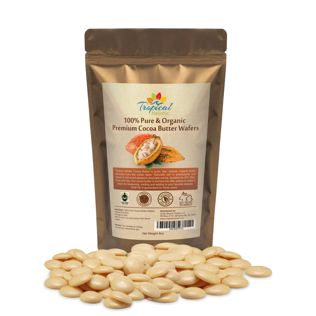 Raw Cocoa Butter Wafers (8 ounce) - 100% Natural Unrefined, Non-Deodorized, Organic Fair Trade