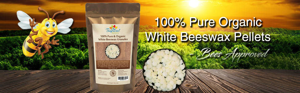 Organic White Beeswax Granules (Pellets) 1lb - Pure, Natural, Great For DIY Projects, Skin Care, Lip Balms, Candles