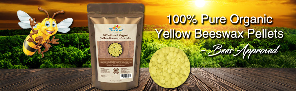 Organic Yellow Beeswax Granules (Pellets) 1lb - Pure, Natural, Great For DIY Projects, Skin Care, Lip Balms, Candles