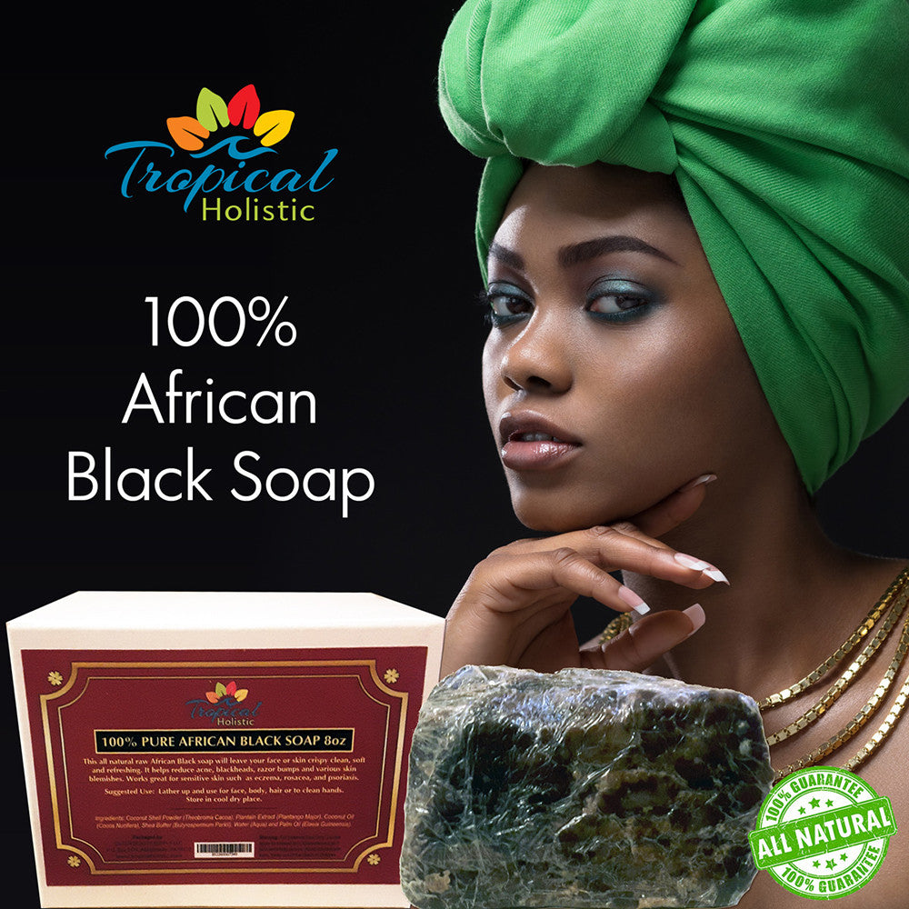 100% Raw Natural African Black Soap + Bonus Bamboo Wooden Dish - Tropical-Holistic