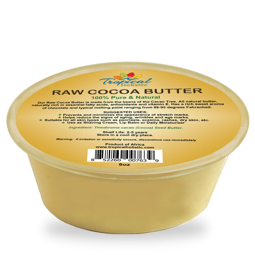 100% Pure Raw African Cocoa Butter 8oz - Tropical-Holistic
