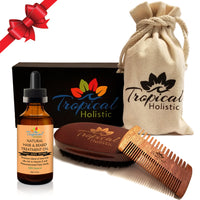 Premium Men's Beard Kit with Quality Brush, Comb, 100% Natural Organic Beard Oil 2oz, and Deluxe Cotton Bag in Gift Box. - Tropical-Holistic