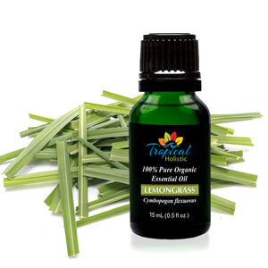 Lemongrass Organic Essential Oil 15ml (1/2 oz) -100% Pure & Undiluted