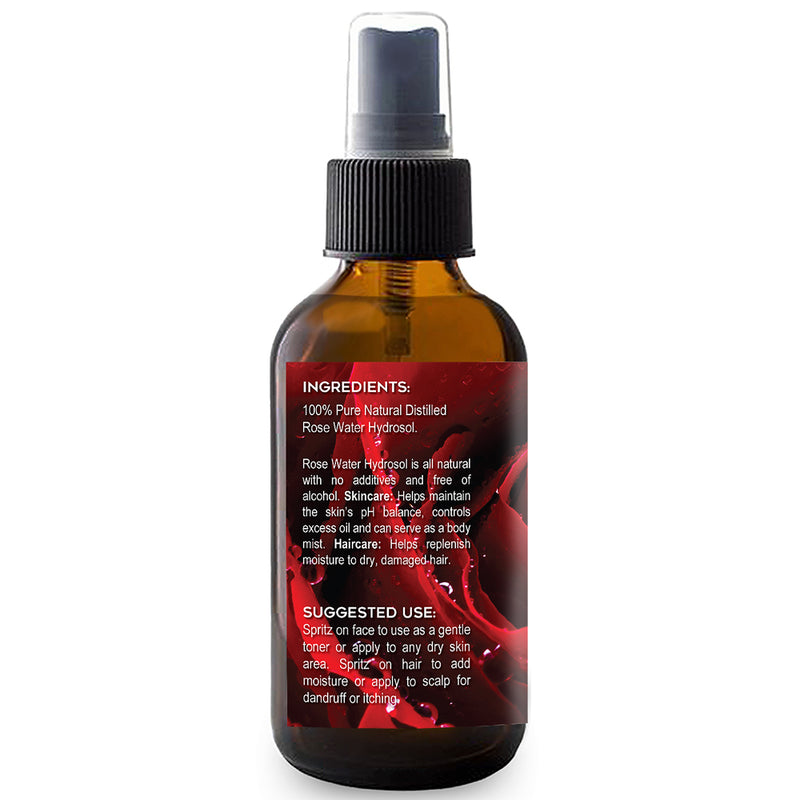 100% Pure Rose Water 4oz – All Natural Facial Toner, Hair Moisturizer, Body Mist - Moisturizer for Dreadlocks and Locks