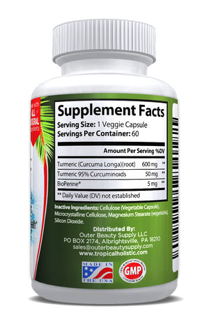 100% Pure Turmeric Curcumin With BioPerine 1200mg per serving -60 Ct - Tropical Holistic  - 2