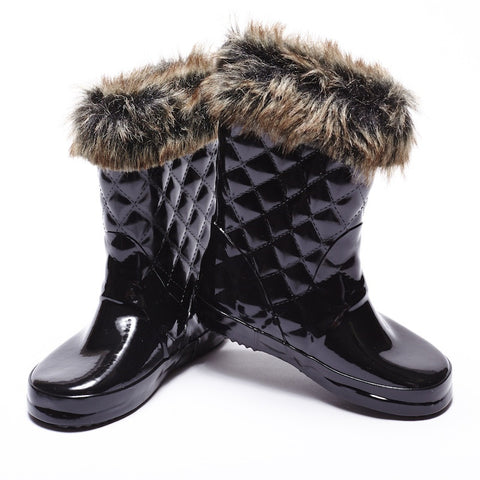 Girls Gumboot - Black Gloss with Fur Trim
