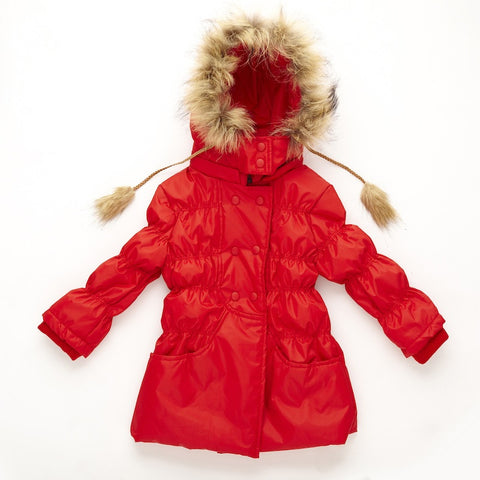Girls Raincoat - Red with Fur Trim