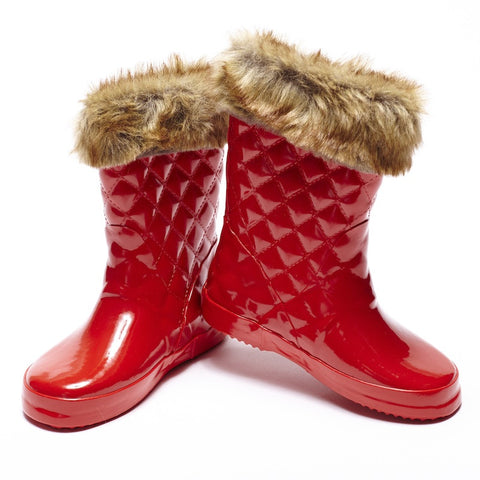 Girls Gumboot - Red Gloss with Fur Trim