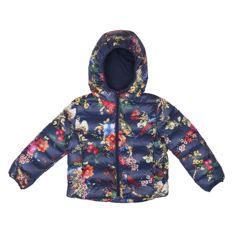 Girls Raincoat - Navy Floral Design