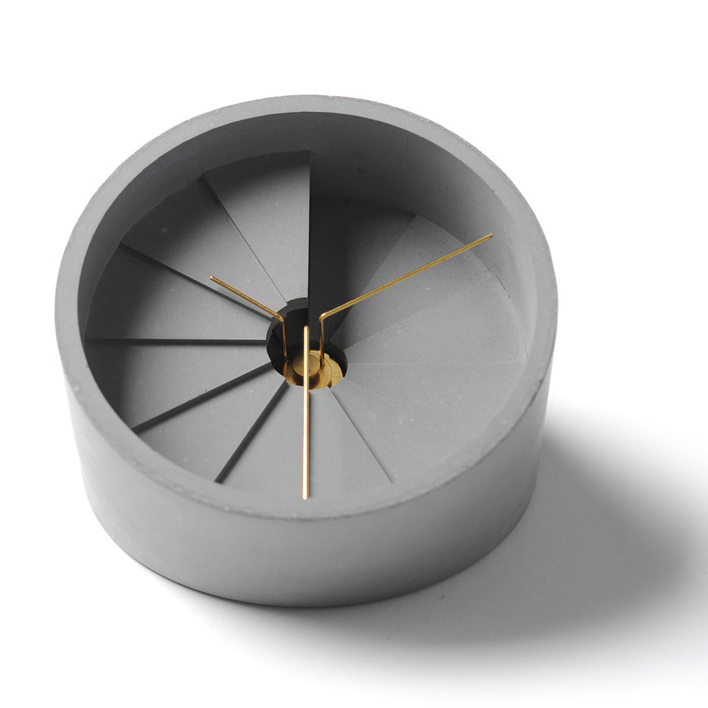 4th Dimension Table Clock (Gold/ Grey)