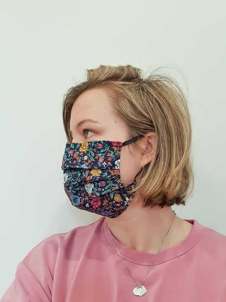 Adult Face Mask - Tiny Love Hearts (Black)