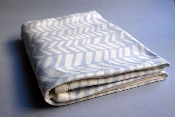 Organic Baby Swaddle Blanket - Blue Herringbone - Little Dreamer Australia
