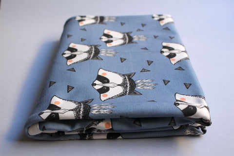 Organic Baby Swaddle Blanket - Blue Raccoon - Little Dreamer Australia