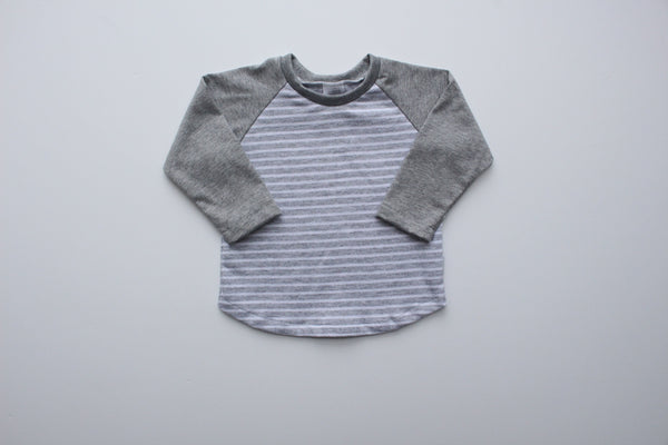 Raglan Tee - Grey Stripe