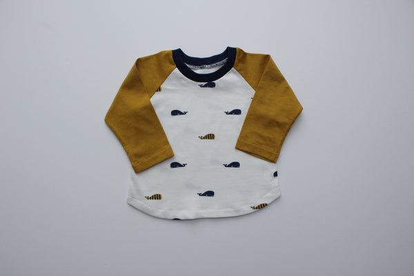 Raglan Tee -  Whales (Size 3-6 Months only) LAST ONE