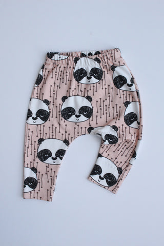 Organic Harem Leggings - Sleepy Panda (Blush)