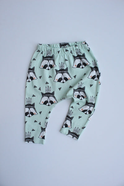 Organic Harem Leggings - Mint Raccoon