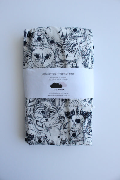 Fitted Cot Sheet - Menagerie (Navy)