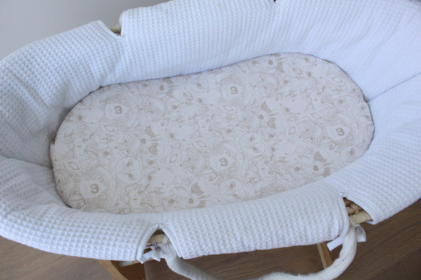 Menagerie (Latte) - Bassinet Sheet