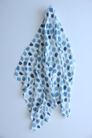 Watercolour Blue Muslin Wrap