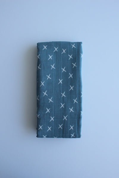 Dusty Blue Cross Muslin Wrap