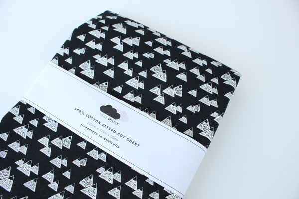 Fitted Cot Sheet - Monochrome Mountains
