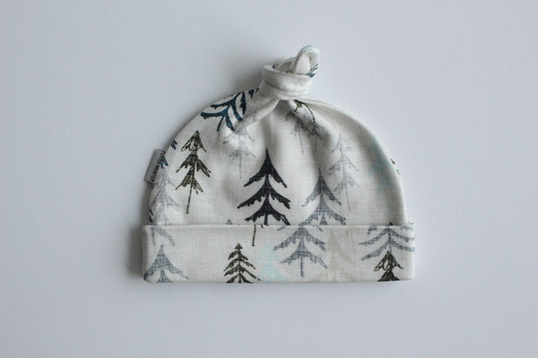 Organic Topknot Baby Beanie - In the Forest