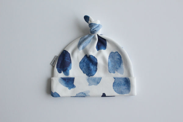 Organic Topknot Baby Beanie - Watercolour Blue