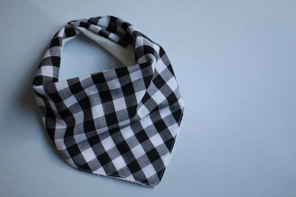 Bandana Bib - Gingham (Black Medium) - Little Dreamer Australia