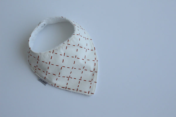 Bandana Bib - Cross Stitch (Rust)
