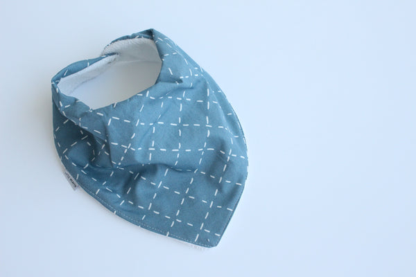 Bandana Bib - Cross Stitch (Teal)
